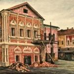 Палаты В.В. Голицына в Охотном ряду во время реставрации их П.Д. Барановским. Акварель В. Коленда. 1920 год. Теперь на этом месте здание ГосДумы (при СССР — Госплан)