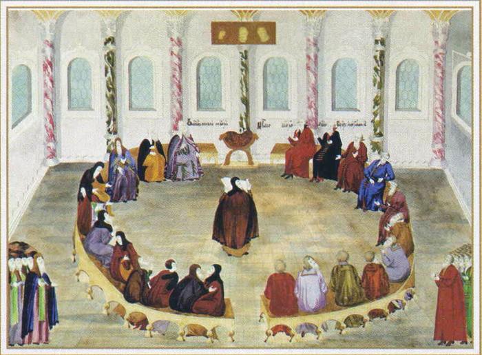 Провозглашение Авраамием Палициным решения земского собора об избрании на царство Михаила Федоровича Романова.