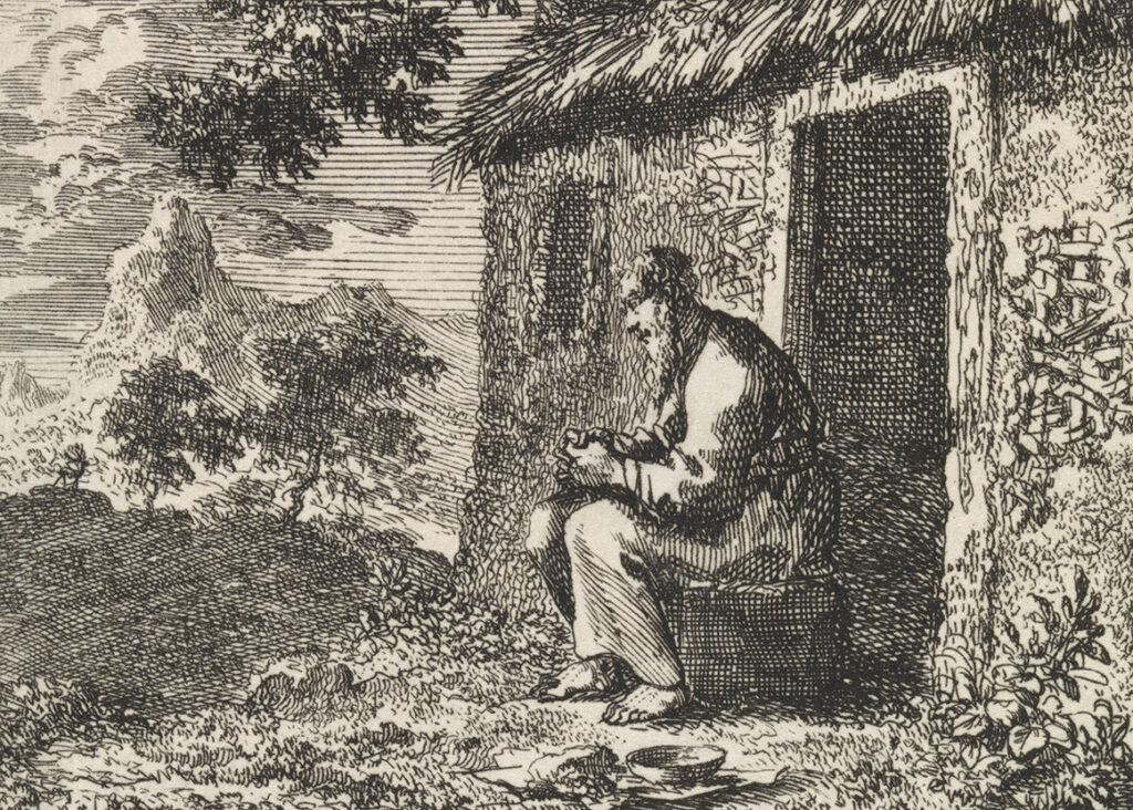 Отшельник у входа в дом. Офорт Яна Лёйкена, 1711.