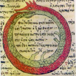 Гностический круг. Змея, кусающая свой хвост.