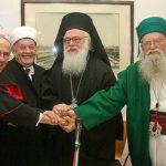 Архиеп. Анастасий (Ианнулатос) с католическим албанским архиепископом, муфтием и суфием. Тирана, 2009 г.