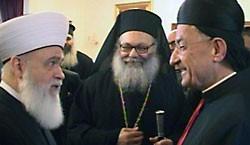 Кардинал Бешара, Патриарх Иоанн (Язиги) и муфтий Ливана Мухаммад Рашид Каббани (справа налево)