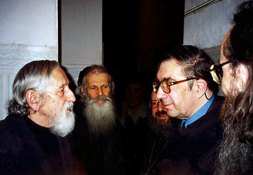 Слева направо: О. Виталий Боровой, о. Виктор (Мамонтов), о. Сергий Гаккель, С.С. Аверинцев, о. Георгий Кочетков
