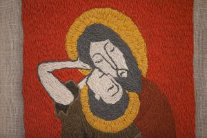"""""""Поцелуй Иуды"""". Иуда - как покровитель всех предательств - изображен с нимбом."""