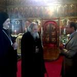 Бертран Деланое в православном храме с митр. Эммануилом и о. Николаем Озолиным