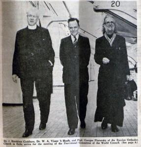 О. Флоровский, Георгий Васильевич приезжает в США. Рядом с ним крупные деятели экуменизма Виссерт-Хуфт (в центре) и Хатчисон Кокбурн. 7 апреля 1947 г.