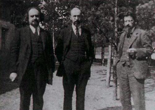 Н.А. Бердяев, Франк, Сергей Людвигович и Л.П. Карсавин на съезде РСХД. 1923 г.
