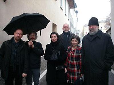 (Справа налево): о. Петр (Мещеринов), К. Лученко, А. Юдин, Е. Мохова, А. Кырлежев, С. Чапнин