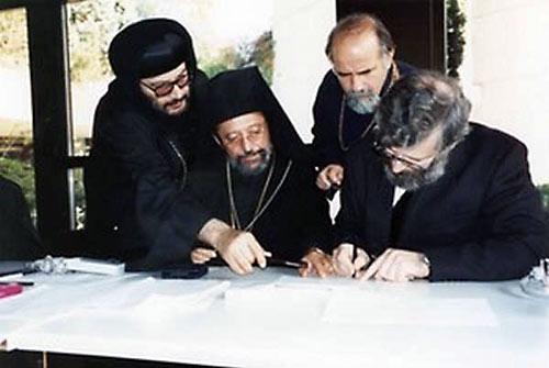 Диалог православных и антихалкидонитов. Митр. Дамаскин Швейцарский (сидит слева).