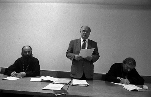 Президиум Учредительного Собрания РБО: Иннокентий Павлов, А.М. Бычков, о. Александр Борисов. 18 декабря 1991 г.